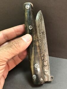 Very rare Beast Horn Hand Made  knife -Old Steel Blade  Big Size R2