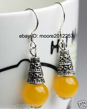 AAA charming Tibet silver yellow jade Dangle Earrings