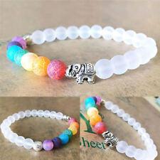 7Chakra Elephant Charm Beaded Bracelet Mala Beads Yoga Energy Bracelet Jewelry