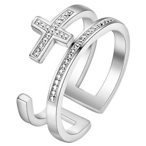 925 STERLING SILVER PLATED ADJUSTABLE THUMB/FINGER  RING DOUBLES AND  CROSS