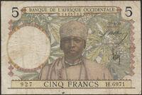 Frz. Westafrika / French West Africa 5 Francs (1939-1941) Pick 21 (4)