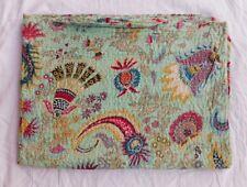 Indian Kantha Quilt Boho Queen Bedspread Handmade Cotton Throw Blanket Art