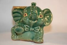 Vtg. Collectible Elephant Planter  Clay made    Bow Tie and a smile. green