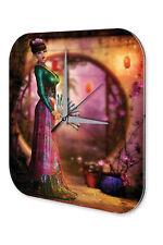 Horloge murale Motif Fantaisie  Geisha Fan Dress Imprimee Acrylglas