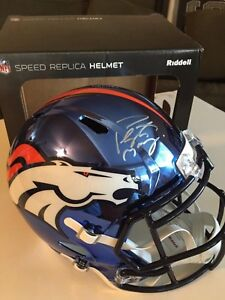 Peyton Manning Autographed Signed F/S Broncos Crome Speed Helmet - Fanatics Holo