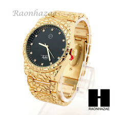 NEW MEN'S LUXURY TECHNO PAVE GOLDEN NUGGET WATCH WRIST BRACELET WATCH MM002BKG