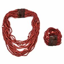 Red Seed Bead Stretch Bracelet Beach Necklace with Wooden Buckle Women Jewelry