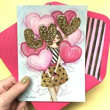 Papyrus Valentine's Day Card - RARE OOP BELLA PILAR Golden bubbles balloons LUV