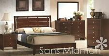 New! Eden Collection Queen Size Bed, 5 Piece Espresso Bedroom Furniture Set 2 Ns