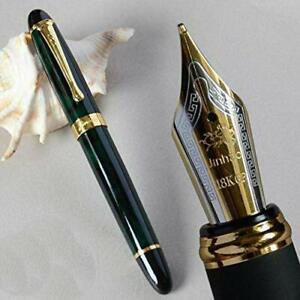 GOLD LEAF JINHAO X450 Luxury Dark Green color, Fountain Pen M Nib New