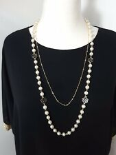 Pearl Necklace Camellia Flowers Reversible 2 Strands Gold Tone Long Statement