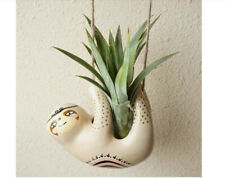 Cute Sloth Ceramic Hanging Succulent Planters Pottery Bonsai Cactus Flower Pot,
