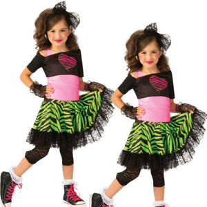 80s Material Girl Kids Fancy Dress Costume Madonna 1980s Outfit New