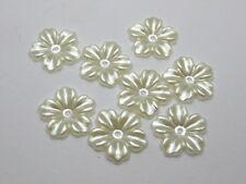 200 Ivory Pearl flower Beads Flat Back 12mm Scrapbook Craft Flower Embellishment