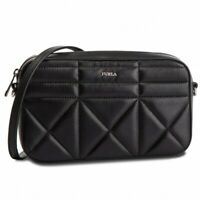 Furla Messenger Black Quilted Leather Crossbody Small Silver Zip Top Clutch NEW