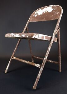 Vintage Folding Metal Chair Brown and White