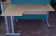1600mm Left Hand Ergonomic Desk, Beech Finish. Office Desk, Office Furniture