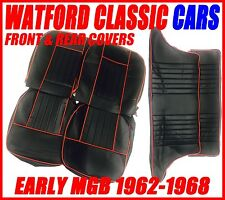 MGB GT Front and Rear Seat Covers 1962 -1968 Black with Red Piping