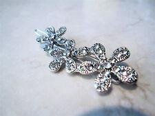 Small silver crystal flower hair clip barrette bridal clip bridal barrette