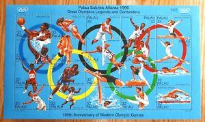 1996 Palau Souvenir Stamp Sheet - Olympic Games Legends - MNH