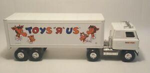 "Vintage 80's ERTL Metal Tractor Trailer 21"" ""Toys R Us"" White Enamel w Graphics"