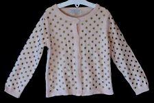 Girls M&S Pale Pink Gold Polka Spot Dot Thin Knit Cardigan Age 2-3 Years