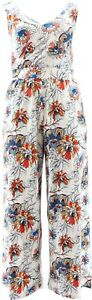 G Giuliana Knit Jumpsuit White Floral 1X Avg NEW 649-943