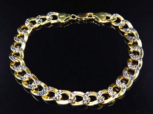 Men's 10K 2 Tone Gold Hollow Flat Curb Cuban Style Bracelet 9MM