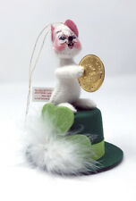 "Annalee 2002 3"" Lucky Irish Mouse Ornament/ Figurine With Coin and Hat 170402"