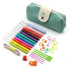 30pcs Crochet Hooks Kit Yarn Knitting Needles Sewing Tool Ergonomic Grip Bag Set