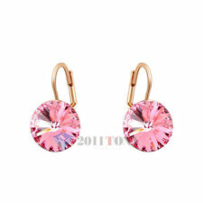 18K Rose Gold Plated Swarovski Crystal Costume Jewellery Ladies Pink Earrings