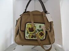 Sharif Couture Floral Beaded Nappa Leather Large Satchel ~ NWT $299.90 CLEARANCE