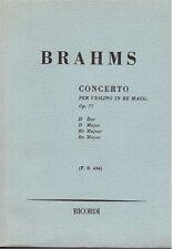 Brahms: Concerto Per Violino op.67 In Re Maggiore - Spartito Tascabile Ricordi