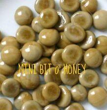 UNIQUE! Mini Latte BIT O' HONEY Tan Ecru Opal ** 50 GLASS GEMS Mosaic Tile Tiles