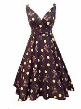 Women's Polyester V Neck 50's, Rockabilly Knee Length Dresses