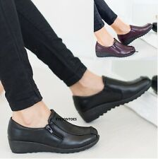 LADIES WOMENS LOW WEDGE WORK COMFY HOSPITAL NURSE OFFICE BOOT SHOES SIZE 3-8