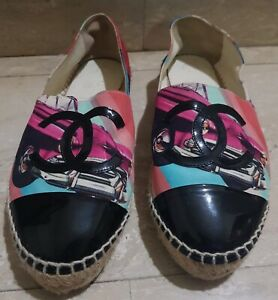 Authentic Preloved Chanel CLASSIC Multicolored Espadrilles Flat Shoes Size 38