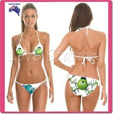 Bikini Swimwear With Print Monster Pattern Lady Swimsuit Ties Side & Back