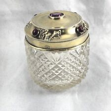 Fancy Sterling Lid with Amethyst  Crystal Jar by Mermod and Jaccard
