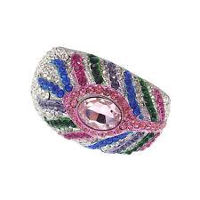Luxury Peacock Feather Design Bracelet Bangle Cuff Multi-color Rhinestone Silver