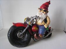 Gartenzwerg auf Motorrad, 28 cm hoch, Motorradzwerg, Rocker, Garten, Dekoration