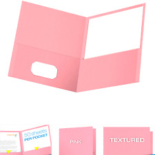 Oxford Twin Pocket Folders Textured Paper Letter Size Pink Holds 100 Shee