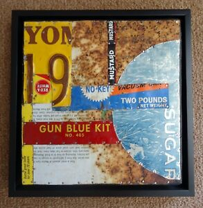 "Jeff Brown artwork Found Object ""Gun Blue"" assemblage collage original unique"
