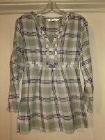 STUDIO M~Sage FLANNEL Cotton PLAID Tunic SHIRT Blouse TOP~S