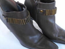 Nine West Ankle Boots 6M Womens Shoes Trishy Leather Brown Heels Side Zip