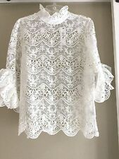Ina Victorian High Mock  Neck white sheer lace blouse top Large  New with tags