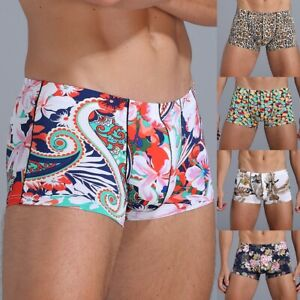 Men'S Sexy Ice Silk Printings Trunks Bulge Boxers Briefs Underwear Pouch Shorts