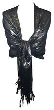Superbe dames chic noire femme écharpe étole wrap brillantes pashmina (LN)