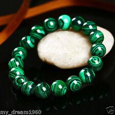 Handmade Natural 10mm Green Malachite Round Gemstone Beads Stretch Bracelet