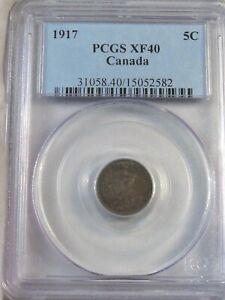 1917 Silver 5¢ Five Cent CANADA PCGS XF40. #56